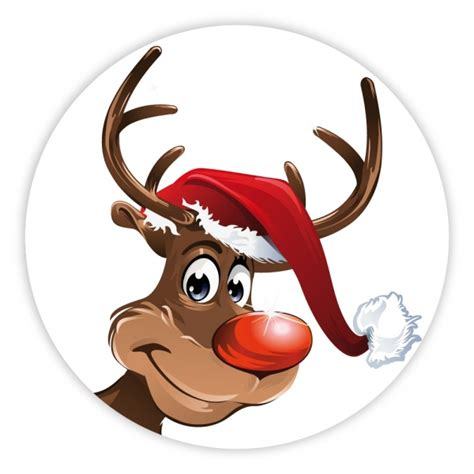 Stiker Transparan By Echa Olshop weihnachtsaufkleber rentier mit weihnachtsm 252 tze rund 216 30