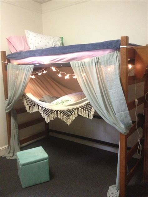 college bed dorm room lofted bed and hammock dorm room ideas
