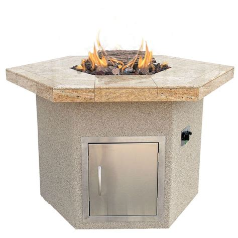 hexagon pit cal stucco and tile dining height hexagon propane