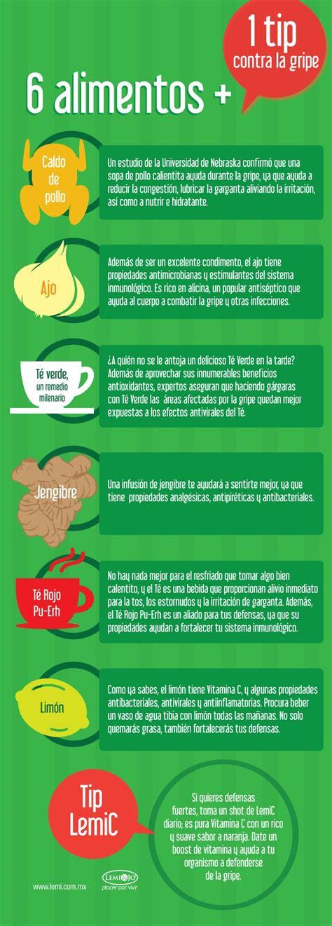 infografia  alimentos   tip contra la gripe salud  bienestar infografias