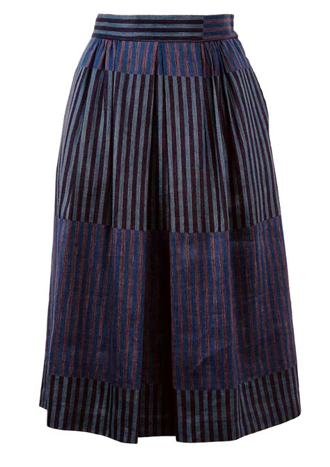blue patterned midi skirt midi length skirt with blue pink purple striped pattern