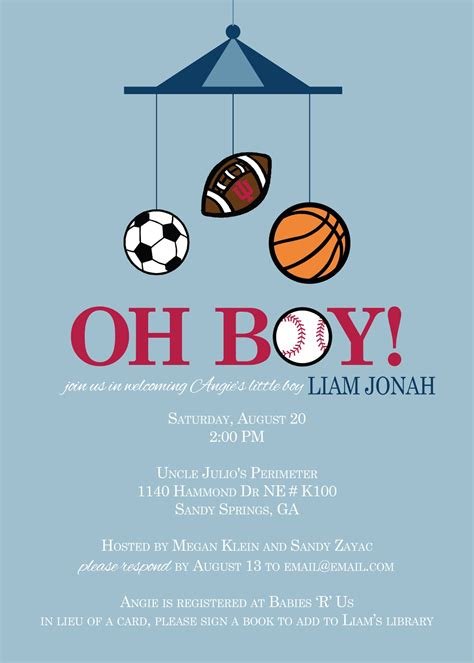 Baby Shower Invitations Sports Theme by Rkdesigns Sports Theme Baby Shower Ideas
