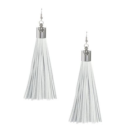 Tassel White white leather tassel earrings with silver cap