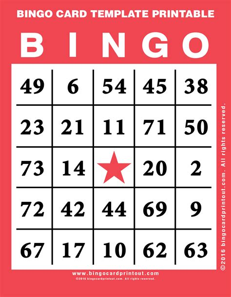 Bingo Card Template by Bingo Card Template Printable Bingocardprintout