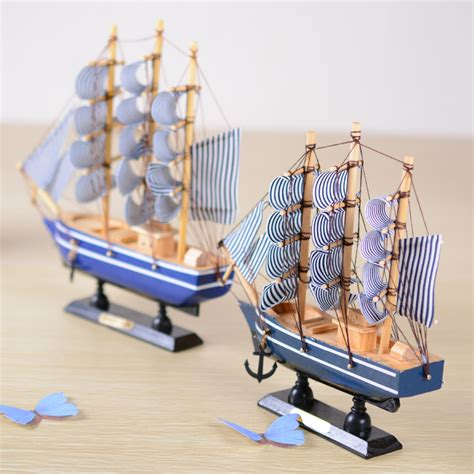 Handmade Ship Craft Wooden Sailing - 2 size lovely mediterranean style wooden sailing ship