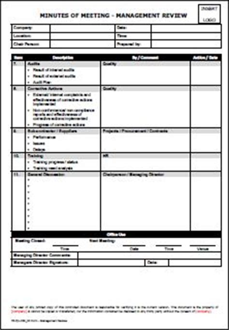 management review form template template minutes of meeting management review