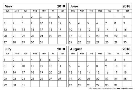 printable calendar june july august 2018 may june july august 2018 calendar blank printable