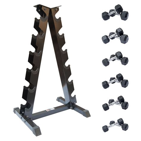 Rubber Hex Dumbbell Set With Rack by Dkn 2kg To 10kg Rubber Hex Dumbbell Set With Storage Rack