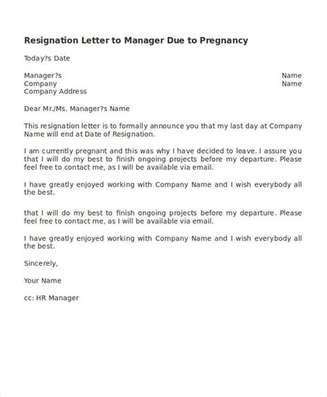 Resignation Letter To Manager Resignation Letter Due To Pregnancy Template 6 Free Word Pdf Format Free