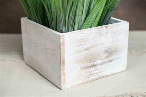 White Square Planter Box by Whitewashed Wood Square Planter Box 6x6