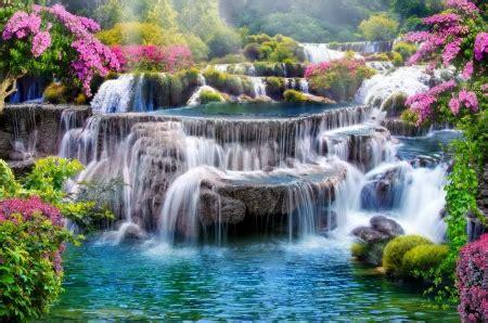 spring waterfall waterfalls nature background