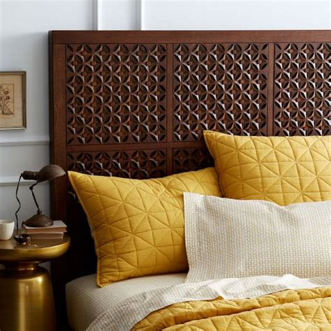 wood carved headboards carved headboard caf 233 west elm
