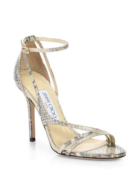 jimmy choo gold sandals jimmy choo valdez snake embossed leather sandals in gold