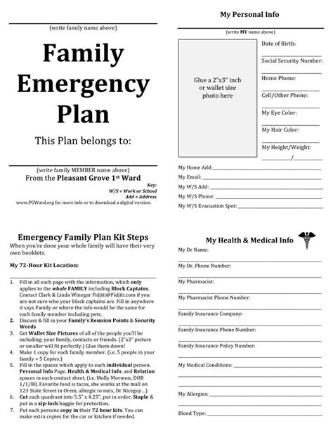 family emergency plan printable documents for your emergency binders