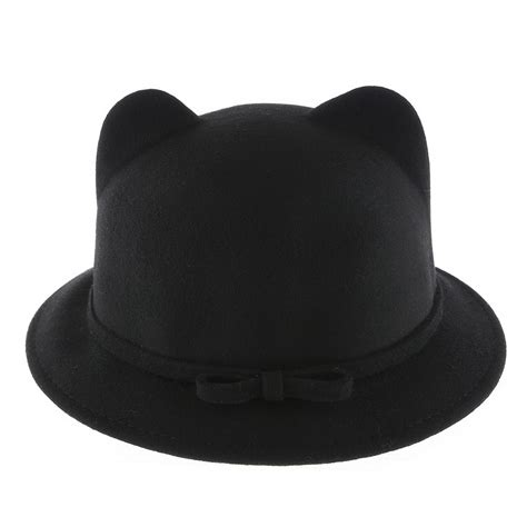 Cat Ear Bowler Hat by Lovely Cat Ear Bowler Hat With Ribbon Danischoice
