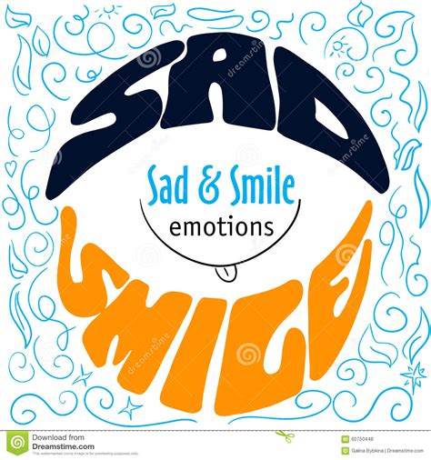 typography emotions colorful emotions lettering sad and smile stock
