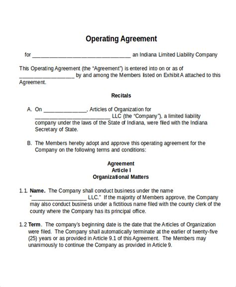 operating agreement template free 17 agreement templates free sle exle format