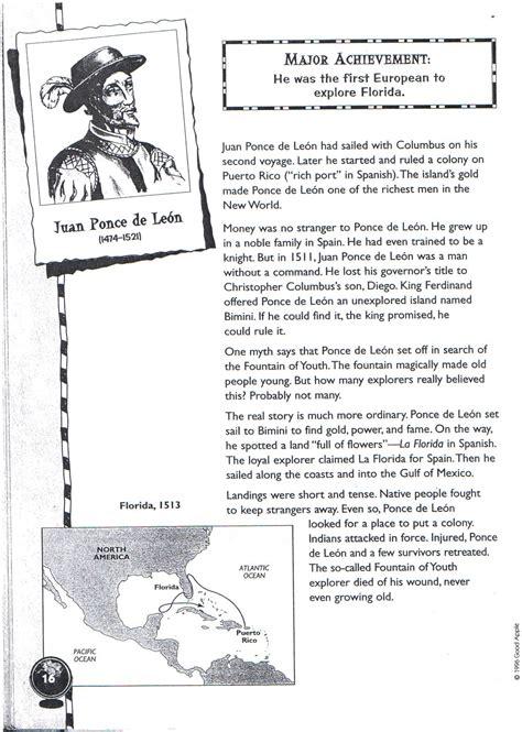 Explorers Worksheets by Juan Ponce De 1474 1521 Printable Explorers Unit