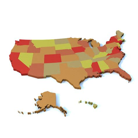 3d map of the united states united states map 3d model 3ds lwo lw lws cgtrader