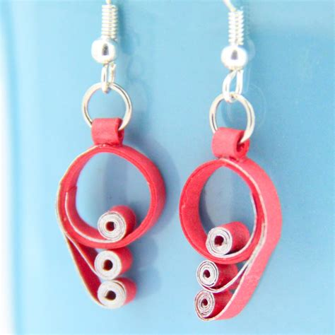 Paper Quilling Earrings - and silver scroll paper quilling earrings