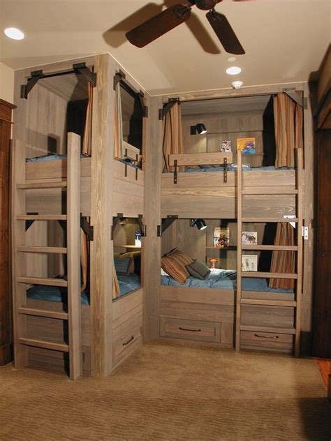 Cabin Home Plans With Loft by Cabin Bunk Bed Ideas Kids Rustic With Light Wood Bunk Beds