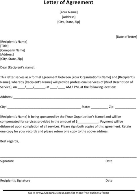 Letter Of Agreement Form Reference Letter For Excel Pdf And Word