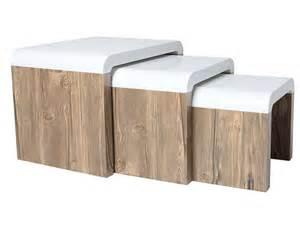 set de 3 tables basses gigognes coloris blanc ch 234 ne