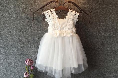 boho floral lace  tulle flower girl dress  faded