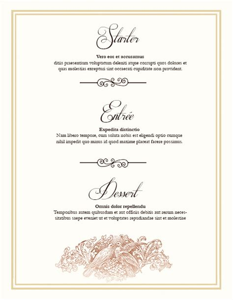 free menu templates for dinner best photos of menu templates free wedding menu