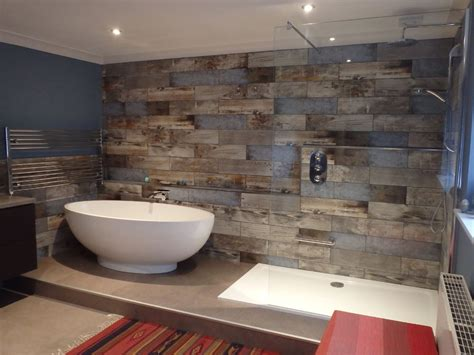 reclaimed wood s bathroom transformation walls - Wood Tile Bathroom
