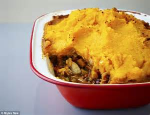 food special baked lentil bean cottage pie with a
