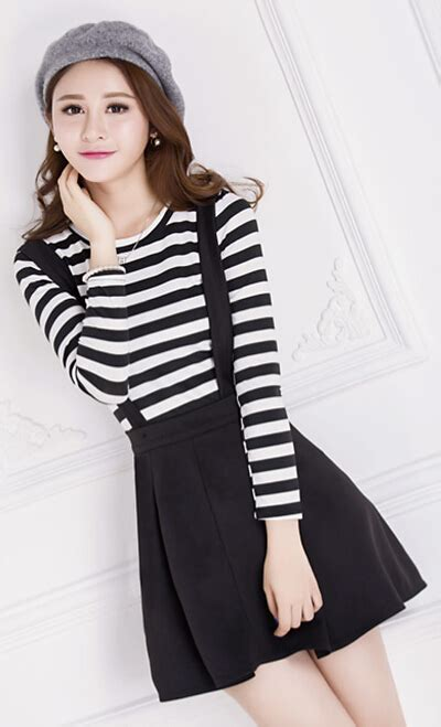 21898 Black Korean Stripe Dress wear mix match korean new fashion two