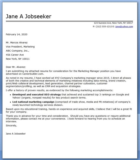 search results for marketing cover letter exles