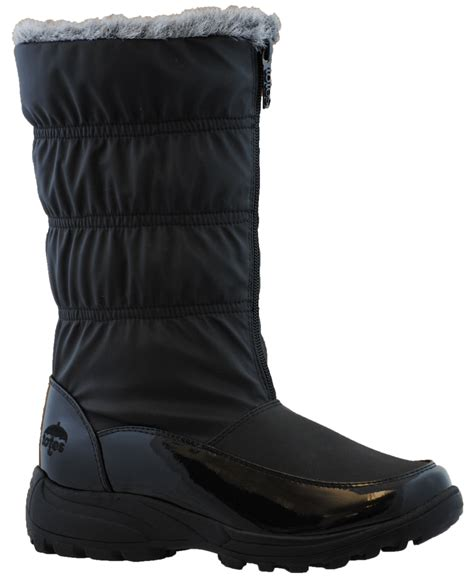 totes rogan womens black white waterpoof snow boot ebay