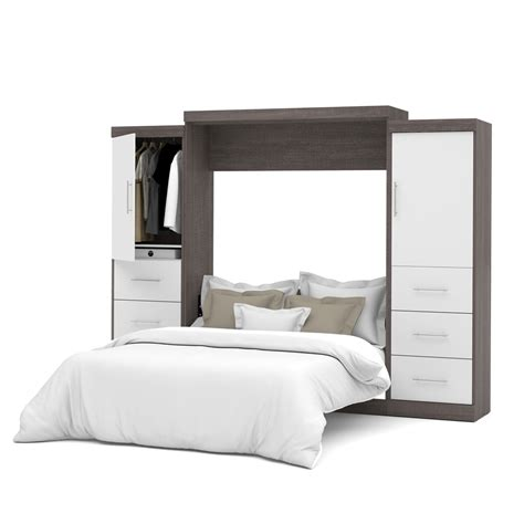 queen wall bed nebula 115 quot queen wall bed kit in bark gray white