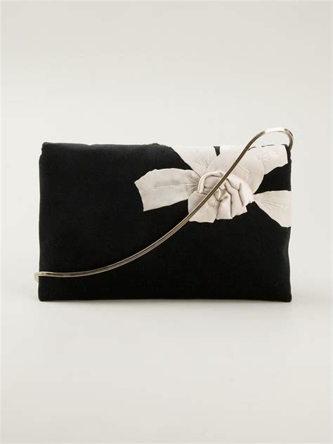 Floral Embroidered Evening Clutch by Lanvin Black Flower Embroidered Evening Clutch Lyst
