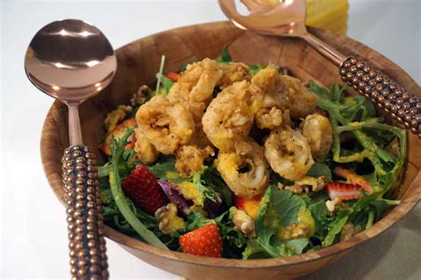 Fried Calamari Salad | buttermilk fried calamari salad with cantaloupe vinaigrette