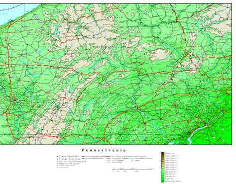 map of pennsylvania pennsylvania elevation map
