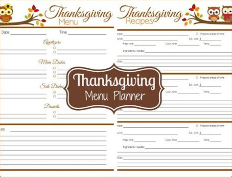 thanksgiving menu planner template printable thanksgiving menu planner diy planner