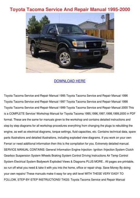 toyota tacoma service and repair manual 1995 by enda dito issuu