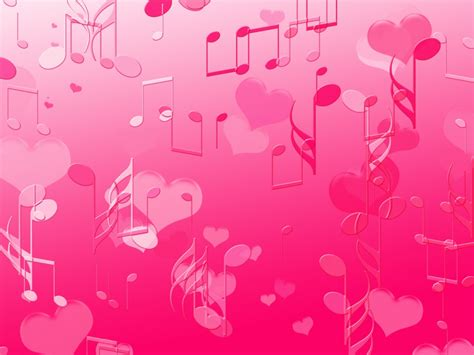 themes pink love musical notes wallpaper cute wallpapers