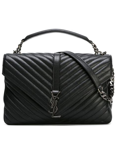 saint laurent large college monogram satchel  black lyst