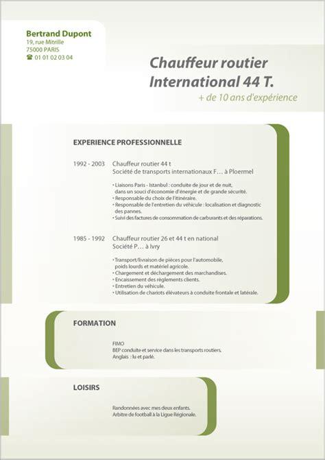 Rédiger Un Cv Exemple by Resume Format Mod 232 Le Curriculum Vitae Chauffeur Routier