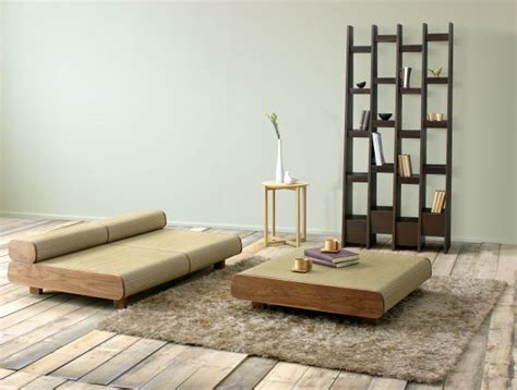 japanese minimalist living japanese eco friendly sofa and ottoman agura by sajica