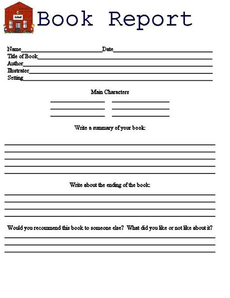 fiction book report form printable book report forms for 3rd graders free book