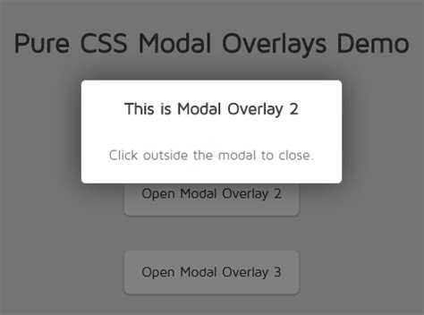 css layout overlap minimal overlay modal in pure css css script