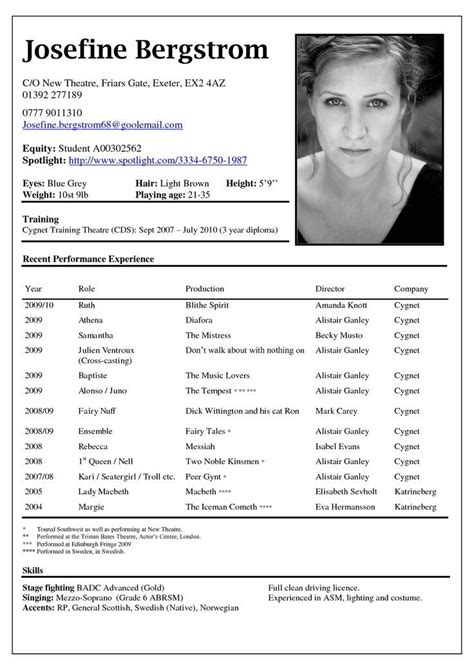 free acting resume template actor resume exle best resume collection
