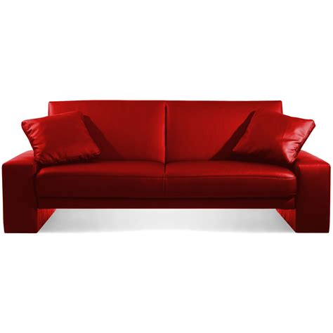 Sofa Bed Designer Red Faux Leather Supra 2 Seater Sleeper