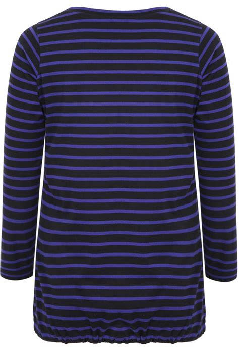 Stripe Sleeved T Shirt black purple stripe sleeved t shirt with drawcord