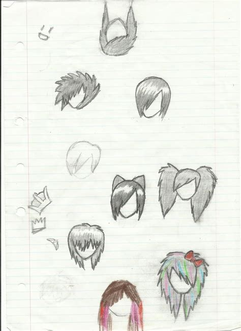 emo hairstyles drawing various emo hairstyles by echo moonsky on deviantart